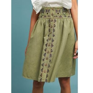 Anthrop. MAEVE Green Embroidered Utility Skirt